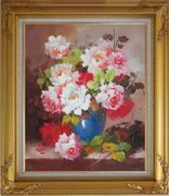Pink and White Flowers in Blue Vase Oil Painting Still Life Bouquet Naturalism Gold Wood Frame with Deco Corners 31 x 27 inches