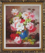 Pink and White Flowers in Blue Vase Oil Painting Still Life Bouquet Naturalism Ornate Antique Dark Gold Wood Frame 30 x 26 inches