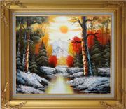 Golden Sunset Over Snow Covered Mountain and River Oil Painting Landscape Naturalism Gold Wood Frame with Deco Corners 27 x 31 inches