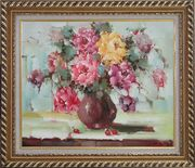 Yellow, Pink and Purple Flowers in Brown Vase Oil Painting Still Life Bouquet Naturalism Exquisite Gold Wood Frame 26 x 30 inches