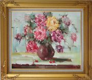 Yellow, Pink and Purple Flowers in Brown Vase Oil Painting Still Life Bouquet Naturalism Gold Wood Frame with Deco Corners 27 x 31 inches