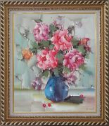 Pink, Yellow and Purple Flowers in Blue Vase on Table Oil Painting Still Life Naturalism Exquisite Gold Wood Frame 30 x 26 inches