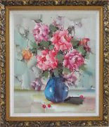 Pink, Yellow and Purple Flowers in Blue Vase on Table Oil Painting Still Life Naturalism Ornate Antique Dark Gold Wood Frame 30 x 26 inches