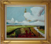 Rural Crop Field Landscape Oil painting Impressionism Gold Wood Frame with Deco Corners 27 x 31 inches