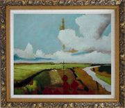 Rural Crop Field Landscape Oil painting Impressionism Ornate Antique Dark Gold Wood Frame 26 x 30 inches