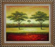 Green Trees Landscape Oil painting Impressionism Exquisite Gold Wood Frame 26 x 30 inches