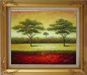 Green Trees Landscape Oil painting Impressionism Gold Wood Frame with Deco Corners 27 x 31 inches