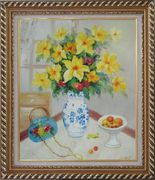 Yellow Flower in Blue-White Vase on a Window Table Oil Painting Still Life Fruit Naturalism Exquisite Gold Wood Frame 30 x 26 inches