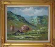 Shabby Farmhouse At the Foot of the Hill Oil Painting Landscape Impressionism Gold Wood Frame with Deco Corners 27 x 31 inches