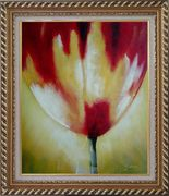 Red Blooming Tulip Flower Modern Oil painting Exquisite Gold Wood Frame 30 x 26 inches