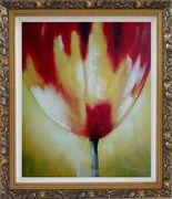 Red Blooming Tulip Flower Modern Oil painting Ornate Antique Dark Gold Wood Frame 30 x 26 inches
