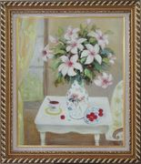 Beautiful Still Life Flower Bouquet on Window Table Oil Painting Fruit Classic Exquisite Gold Wood Frame 30 x 26 inches