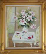 Beautiful Still Life Flower Bouquet on Window Table Oil Painting Fruit Classic Gold Wood Frame with Deco Corners 31 x 27 inches