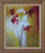 Red and White Flowers Oil Painting Decorative Exquisite Gold Wood Frame 30 x 26 inches
