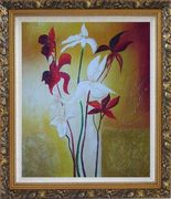 Red and White Flowers Oil Painting Decorative Ornate Antique Dark Gold Wood Frame 30 x 26 inches