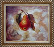 Pear Oil painting Fruit Decorative Exquisite Gold Wood Frame 26 x 30 inches