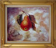 Pear Oil painting Fruit Decorative Gold Wood Frame with Deco Corners 27 x 31 inches