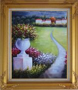 Flower Pot in Garden Of Mediterranean Coast Oil Painting Naturalism Gold Wood Frame with Deco Corners 31 x 27 inches