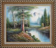 Trees, Peaceful Stream and Snow Mountain Oil Painting Landscape River Naturalism Exquisite Gold Wood Frame 26 x 30 inches
