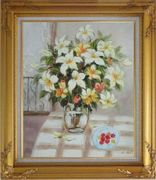 Flower in Vase with Cherry Dish On Table Oil Painting Still Life Bouquet Naturalism Gold Wood Frame with Deco Corners 31 x 27 inches