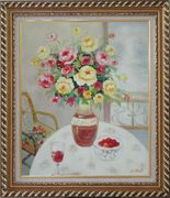 Pink, Yellow and Red Flowers in Vase with Red Wine and Fruits on Table Oil Painting Still Life Bouquet Naturalism Exquisite Gold Wood Frame 30 x 26 inches
