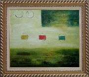 Yellow and Green Abstract Oil Painting Nonobjective Modern Exquisite Gold Wood Frame 26 x 30 inches