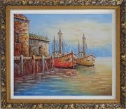 Fishing Village With Boats, Seagulls Oil Painting Naturalism Ornate Antique Dark Gold Wood Frame 26 x 30 inches