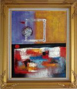 Colorful Modern Abstract Canvas Oil Painting Nonobjective Gold Wood Frame with Deco Corners 31 x 27 inches