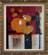 Colorful Abstract Oil Painting Nonobjective Modern Ornate Antique Dark Gold Wood Frame 30 x 26 inches
