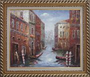 Boat Docked on Canal of Venice, Italy Oil Painting Impressionism Exquisite Gold Wood Frame 26 x 30 inches