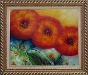 Abstract Sunflower Oil painting Decorative Exquisite Gold Wood Frame 26 x 30 inches