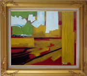 Yellow, Red, Green and White Abstract Oil Painting Nonobjective Impressionism Gold Wood Frame with Deco Corners 27 x 31 inches