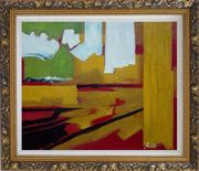 Yellow, Red, Green and White Abstract Oil Painting Nonobjective Impressionism Ornate Antique Dark Gold Wood Frame 26 x 30 inches