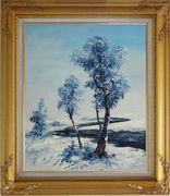 A Winding River Passing through Snow Covered Landscape Oil Painting Tree Naturalism Gold Wood Frame with Deco Corners 31 x 27 inches