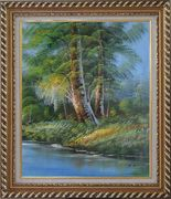 Riverside Giant Trees Oil Painting Landscape Naturalism Exquisite Gold Wood Frame 30 x 26 inches