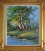 Riverside Giant Trees Oil Painting Landscape Naturalism Gold Wood Frame with Deco Corners 31 x 27 inches