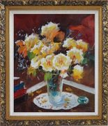 Beautiful Yellow Roses in Vase on Table Oil Painting Flower Still Life Bouquet Impressionism Ornate Antique Dark Gold Wood Frame 30 x 26 inches