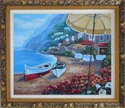Boats, Beachside Restaurant and Mountainside Red Roof Houses Oil Painting Mediterranean Naturalism Ornate Antique Dark Gold Wood Frame 26 x 30 inches