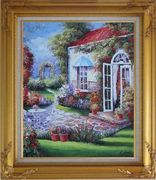 Gorgeous Backyard of Flower Garden in Spring Oil Painting Naturalism Gold Wood Frame with Deco Corners 31 x 27 inches