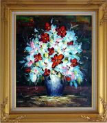 Knife Painted Red, White and Pink Flowers Oil Painting Still Life Bouquet Impressionism Gold Wood Frame with Deco Corners 31 x 27 inches