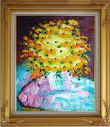 Knife Painted Yellow Flowers Oil Painting Still Life Bouquet Impressionism Gold Wood Frame with Deco Corners 31 x 27 inches