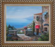 Gate of A Mediterranean Stone House Oil Painting Naturalism Exquisite Gold Wood Frame 26 x 30 inches