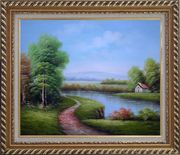 Country Road Passing by a Small Pond Oil Painting Landscape River Classic Exquisite Gold Wood Frame 26 x 30 inches