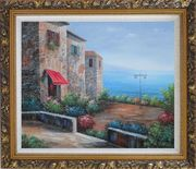 Patio of Stone House at Mediterranean Oil Painting Naturalism Ornate Antique Dark Gold Wood Frame 26 x 30 inches