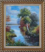 Ducks Playing in a Beautiful Lake Oil Painting Landscape River Animal Bird Naturalism Exquisite Gold Wood Frame 30 x 26 inches