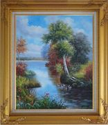 Ducks Playing in a Beautiful Lake Oil Painting Landscape River Animal Bird Naturalism Gold Wood Frame with Deco Corners 31 x 27 inches