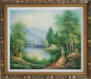 Quiet Lake Scenery in Eary Spring Oil Painting Landscape River Naturalism Ornate Antique Dark Gold Wood Frame 26 x 30 inches
