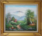 To the Mountain Oil Painting Landscape Naturalism Gold Wood Frame with Deco Corners 27 x 31 inches