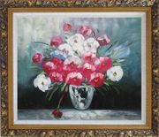 Still Life Poppy Flowers Oil Painting Bouquet Impressionism Ornate Antique Dark Gold Wood Frame 26 x 30 inches