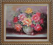 Large Red, Yellow, Pink Peonies in a White Ceramic Vase Oil Painting Flower Still Life Bouquet Classic Exquisite Gold Wood Frame 26 x 30 inches
